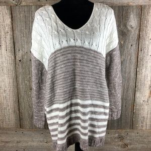 Charlotte Russe Gray/White sweater XL